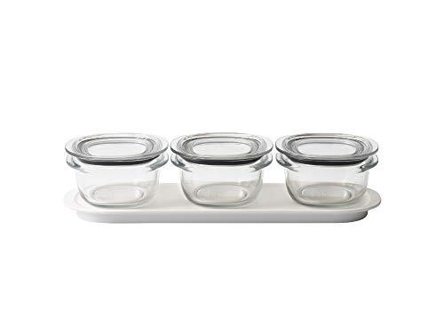 ライクイット (like-it) キッチン収納 調理ができる 保存容器 Sサイズ3個組 クリア + トレーM ホワイト FC-033 冷凍保存可 食器洗い乾燥機可