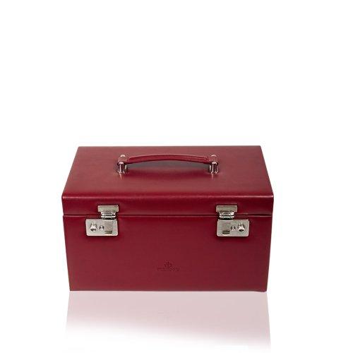 Windrose Merino Schmuckkoffer mit 4 Etagen 30 cm rot