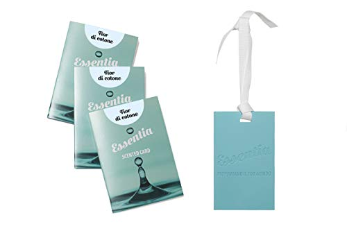 ESSENTIA Cards PROFUMATE al Silicone- Set 3 Cards FRAGRANZA FIOR di Cotone, Ideali per PROFUMARE CASSETTI,ARMADI,Borse,Auto.