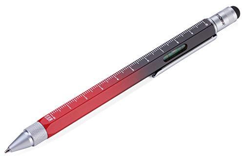 TROIKA CONSTRUCTION – PIP20BK/RD – Multitasking-Kugelschreiber – Farbverlauf – Lineal, 1:20/1:50 Skala – Wasserwaage, Schraubendreher – Stylus, schwarze Mine – rot, schwarz – TROIKA-Original
