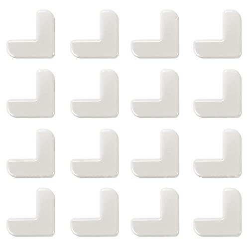 AUTUUCKEE 16PCS PVC Adhesivo Seguridad Anti colisión Fácil instalar Protector de esquina (Blanco)