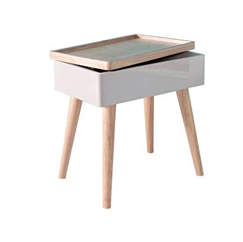 LICHUAN Mesa de centro cuadrada con ruedas para sala de estar, dormitorio, estudio, mesita de noche de madera para pasillo, esquina (color: blanco)