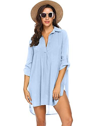 Ekouaer Womens Cover up 3/4 Sleeve Swimsuit Beachwear Bikini Dress Sky Blue