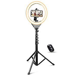 UBeesize 10'' Selfie Ring Light with Stand and Phone holder, LED Ring Light with 62'' Stand and Bluetooth Shutter for Video Recording&Live streaming(YouTube,Instagram , Facebook Stories), compatible with iPhone&Android