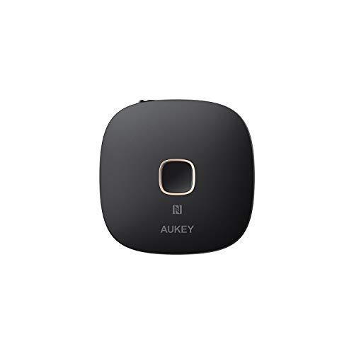 AUKEY Bluetooth Empfänger, NFC-fähiger kabelloser Audio Adapter mit Bluetooth 5, Doppel-Verbindung, Freisprechfunktion für zu Hause und Audio System im Auto