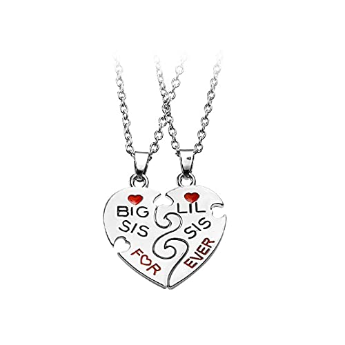 usstore friend necklaces women LoveAloe Sister Friendship Necklace Double Half Heart Pendant Necklace for Women Jewelry Mothers Day Gifts