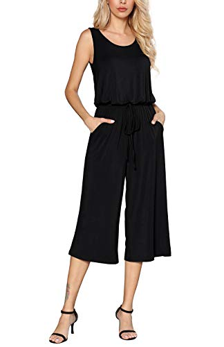 Euovmy Women's Sleeveless Loose Solid Elastic Waist Stretchy Wide Leg Long Romper Jumpsuit with Pockets Black Small