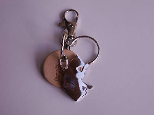 Beiger Leder- Schlüsselanhänger