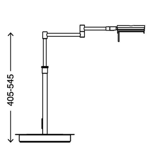 Briloner Leuchten LED Tischleuchte 12 W höhenverstellbar inklusive 4-Stufen-Touchdimmer in matt-nickel 7542-012