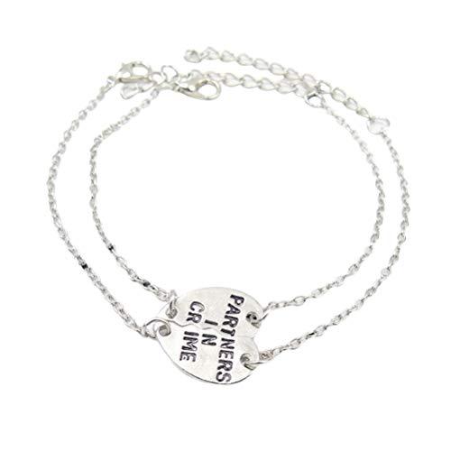 BESTOYARD Armbänder Partner in Crime Anhänger Armbänder BFF Paare passende Herzanhänger 2 Stück (Silber)
