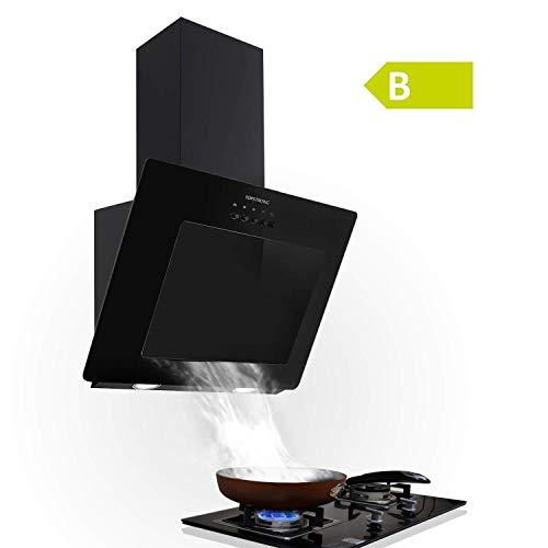 Hotte aspirante 60 cm, Hotte de cuisine inclinée, Max 350 m3/h 3 Vitesses Bouton Pression LED Affichage [Classe énergétique B]