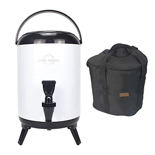 SM SunniMix Cubo de Aislamiento de Espuma de PU para Camping, Almacenamiento de Calor, Gran Capacidad, Sellado de Doble Capa, Tanque de Bebidas de Acero - Blanco 8L