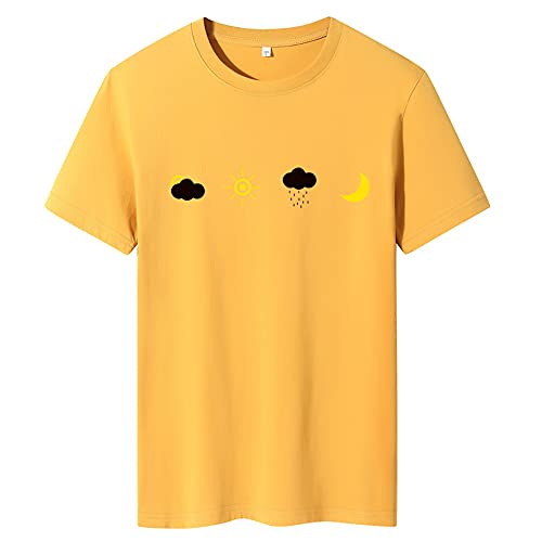 Camiseta Hombre Moda De Verano Estampado De Dibujos Animados Camiseta Juvenil Minimalista Manga Corta Cuello Redondo Elegante Estilo Universitario Camiseta De Hombre E-Yellow 3XL