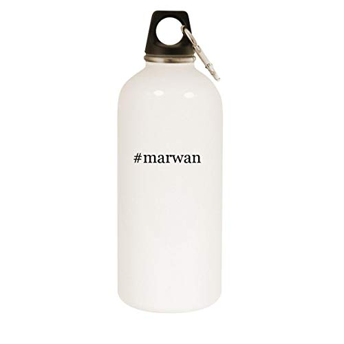 #marwan - 20oz Hashtag Stainless Steel White Water Bottle with Carabiner, White