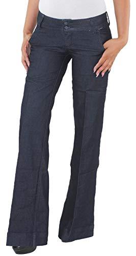 Sotala Damen Jeans Schlaghose Schlagjeans Flared Bootcut Hose Hüfthose Hüftjeans Stretchhose Blau A 34 (XS)