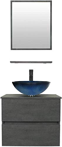 24 Wall Mounted Bathroom Vanity and Sink Combo,Concrete Grey Color Vanity Set with 2 Drawers,Ocean Blue Round Tempered Glass Vessel Sink Top,W/ORB Faucet,Pop Up Drain,Mirror Inc