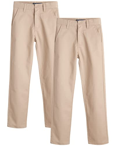 U.S. Polo Assn. Boys' School Uniform Pants - Khaki Dress Pants (Size: 4-20), Size 10, Beige