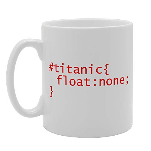 SWT-T MG2035 Titanic Float Funny CSS Style Tag Novedad regalo impreso té...