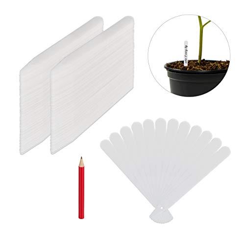 Relaxdays Stecketiketten 300er Set, zum Beschriften, Beet & Anzucht, Garten, 13cm lang, Kunststoff Pflanzenstecker, weiß