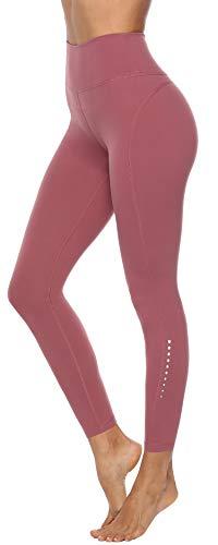 Persit Damen 7/8 Leggings, Sporthose Yogahose Sport Leggins für Damen Yoga Tights,M,Dusty Rose