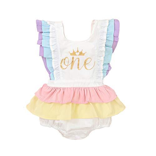 Newborn Infant Baby Girl One 1st Birthday Ruffle Sleeveless Romper Tutu Dress Jumpsuit Bodysuit Cake Smash Outfits (White-Crown, 12-18 Months)