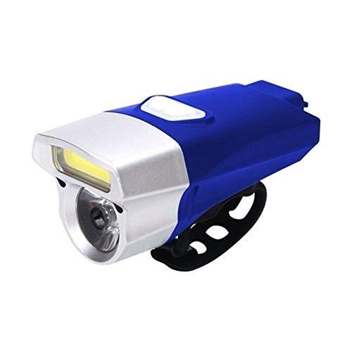 USB LED Linterna for Bicicleta de Ciclo del Headlignt 350 Lumen Bicicletas Luces Delanteras Noche a Caballo Camino de MTB lámpara de Bicicletas Luz Bicicleta (Color : Blue)