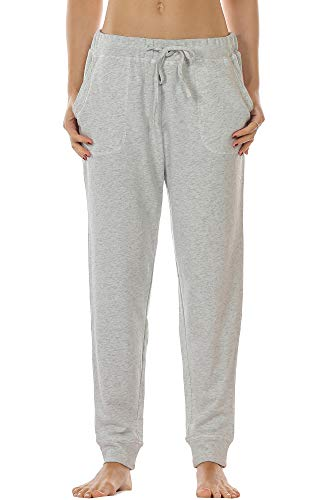 icyzone Damen Hose Jogginghose Lang Sweathose - Sporthose Trainingshose Running Gym Pants (XL, Grey)