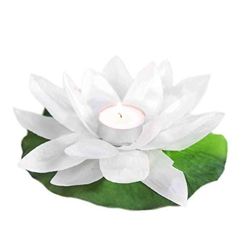 EUTOPICA Pack de 20 Velas flotantes para Piscina Tipo Flor, nenúfar, Polyester (Blanco)