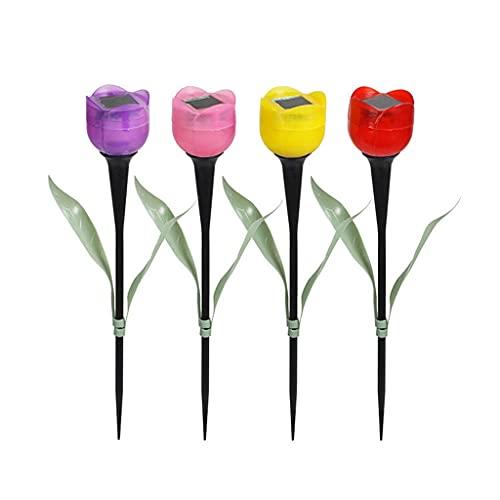 SMEJS 4 PCS Outdoor solar LED Luz de Luz de Luz Solar Luz LED LED Tulip Lámpara de césped Lámpara de paisaje Noche Lámpara de flores