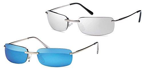Kaiser-Handel 2 occhiali da sole rettangolari da uomo, con cerniera a molla, per spiaggia, vacanza, sb05