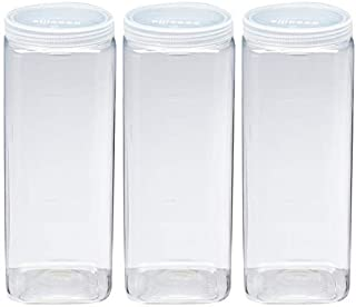 Silicook Clear Plastic Jar, Set of 3-40oz, Square Shaped, Transparent, Food Storage Container, Kitchen & Household Organization for Dry goods, Spices, Vegetables, Ingredients and More