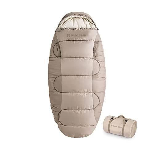 【NEW モデル】 SWAG GEAR 1人用 寝袋 綿羽毛 手伸ばしできる シュラフ シュラフ 保温 超軽量 丸 洗い可能 収納袋付き ‐9℃~快適温度4℃ (SWAG GEAR(PS300))