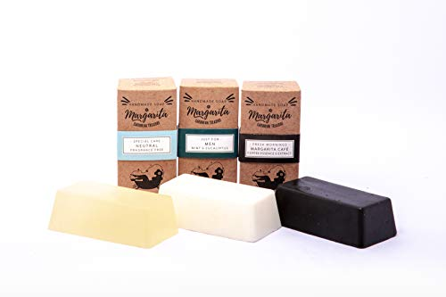 Kit for Men. Contiene 3 jabones artesanales de 160 gr C/U. Menta y eucalipto, neutral: 100% Glicerina vegetal, Margarita Coffee: extracto natural de café.