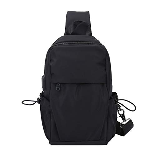 Almencla Men's Chest Bag Shoulder Pack USB Charging Sport Crossbody Handbag Waterproof