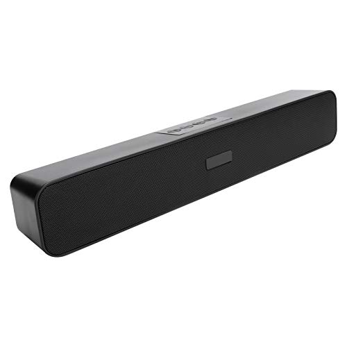 PUSOKEI Desktop Wireless Stereo-Lautsprecher, TV-Heimkino-Soundbar Subwoofer Wireless Bluetooth-Soundbar Stereo-Surround-Sound-Lautsprecher unterstützen TF Card U Disk AUX(schwarz)