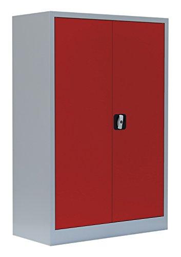 Flügeltürenschrank Schrank Stahl Stahlblech Lagerschrank Aktenschrank 2 Fachböden 530324 Lichtgrau/Rot 1200 x 920 x 420 mm kompl. montiert und verschweißt