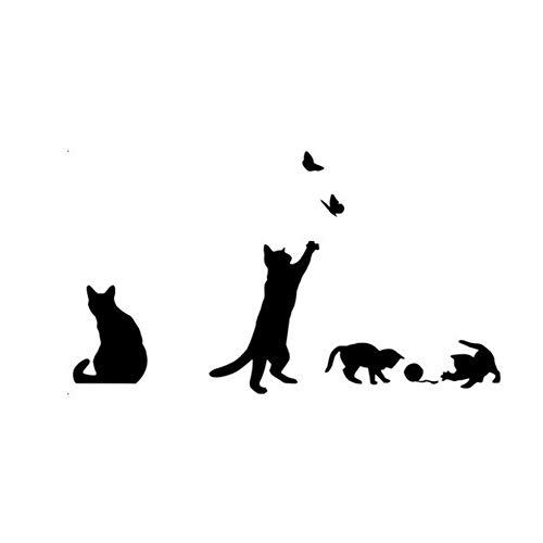 Drawihi 1 Stück Wandsticker, Motiv Katze, schwarz, selbstklebend, für die Wand des Hauses, Anime, 53 x 94 cm