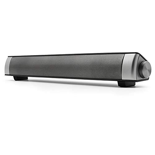 Barra de sonido, Bingxue barra de sonido para TV Bluetooth Altavoces de computadora - Conexión por cable e inalámbrica de 10W, barras sonido soporte Tarjeta TF /AUX/ BT Modos (plata)