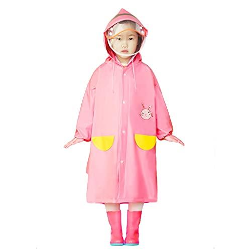 WXFF Poncho de lluvia con capucha para niños y niñas, resistente al agua, impermeable para niños, impermeable para estudiantes, plegable, color rosa, talla 3XL)