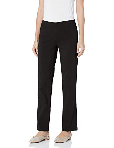 SLIM-SATION Women's Wide Band Pull-On Relaxed Leg Pant with Tummy Control, Black, 8