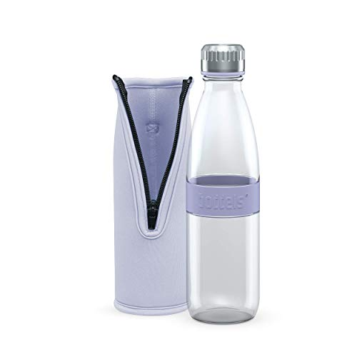 boddels Glastrinkflasche DREE 650ml mit Neoprentasche PACKJE (Lavendelblau, 650ml)