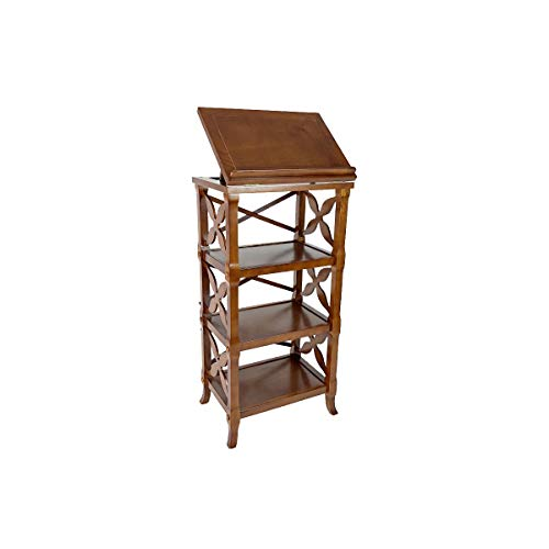 Benjara 3 Tier Adjustable Top Book Display with Carved Criss Cross Sides, Brown