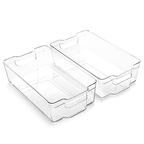 BINO | Stackable Plastic Storage Bins, X-Large - 2 Pack | THE STACKER COLLECTION | Multi-Use Organizer Bins | BPA-Free | Pantry Organization | Home Organization | Fridge Organizer | Freezer Organizer