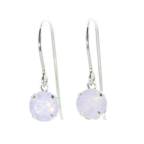 pewterhooter petite 925 Sterling Silver drop earrings for women made with Rose Water Opal crystal from Swarovski. Gift box. Made in the UK.