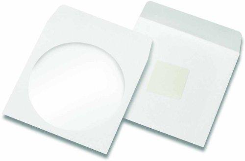 100 CD BD DVD Papierhüllen Sichtfenster selbstklebend mit Klebepunkt