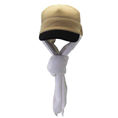 ABOOFAN Ensemble écharpe en polaire épaisse, bonnet intégré au design doux, écharpe pour l'automne et l'hiver pour adultes et femmes (kaki et beige)