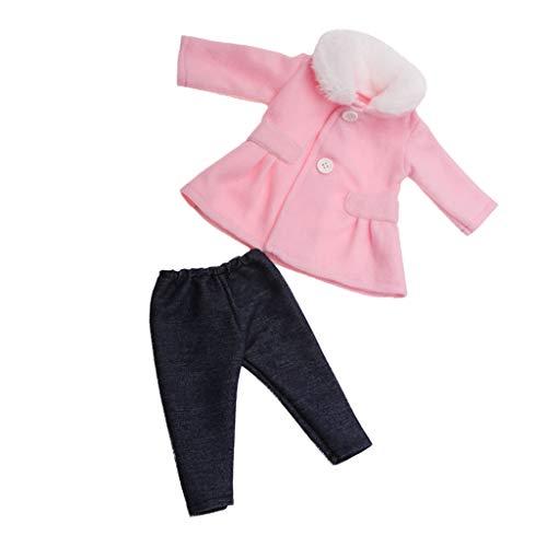 2er-Set Puppenkleidung Puppenmantel Wollmantel mit Hose Outfit für 18 Zoll amerikanische Puppen - Pink