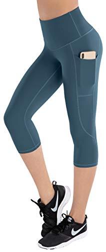 LifeSky Pantalones de yoga de cintura alta, leggings de entrenamiento para mujer con bolsillos, control de barriga, pantalones suaves, L
