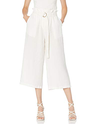 The Drop Women's Laurel Loose Wide Leg Cropped Belted Linen Culotte Pant