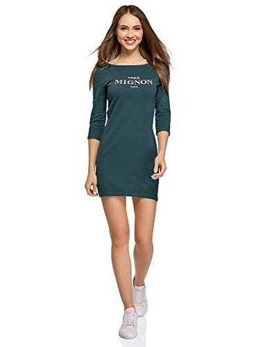 oodji Ultra Mujer Vestido de Punto con Estampado, Verde, ES 40 / M